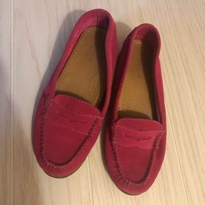 Handcrafted Weejuns pink suede moccasins